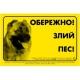 """Наклейка """"Обережно злий пес"""" кавказская овчарка"""