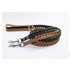 Шкіряний поводок для собак плетений коса Collar 0539